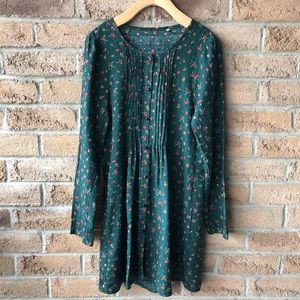 DRESS | Green floral pleat button up dress/tunic